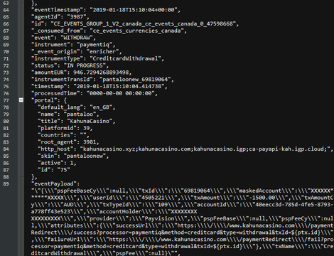 A very small portion of the redacted transaction data leaked by the server