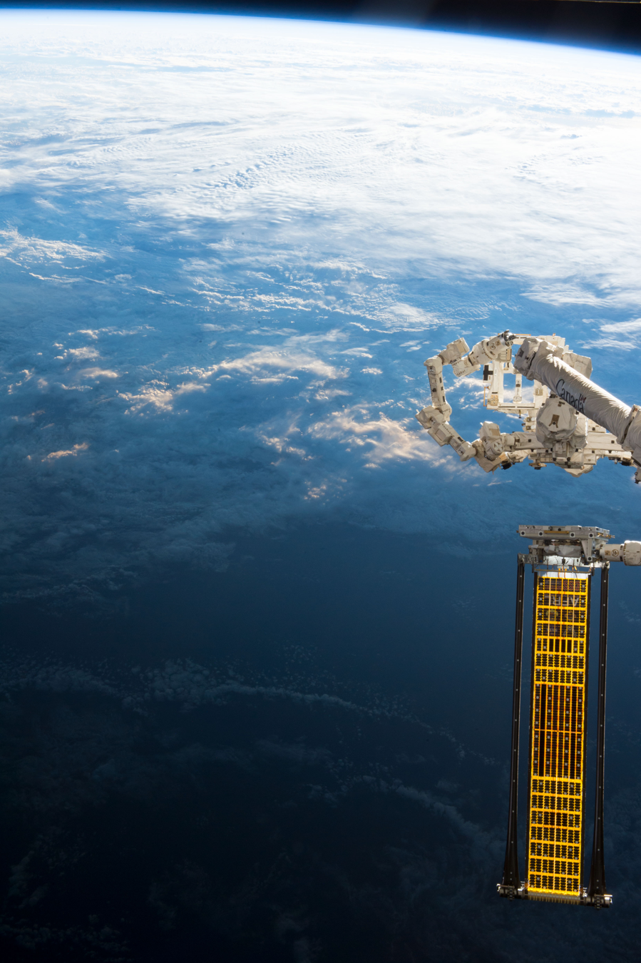 the ROSA array on the ISS