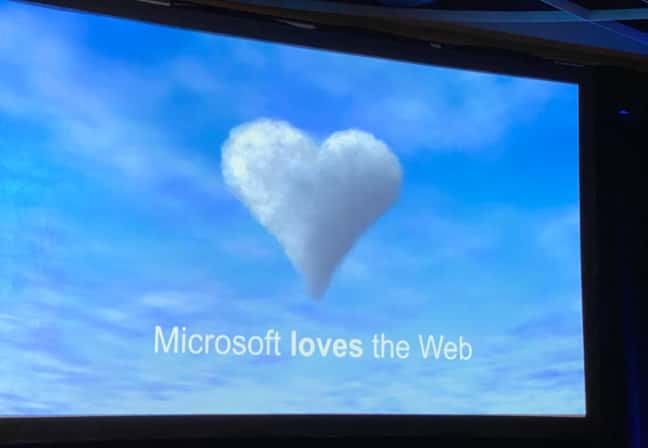 A slide at Enigma 2020 saying Microsoft loves the Web;