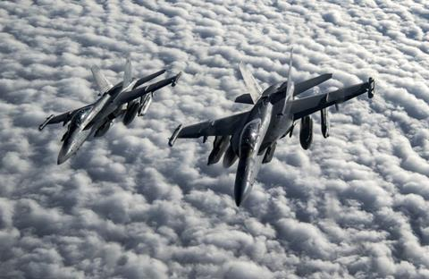 Two US Navy EA-18G Growlers over Afghanistan