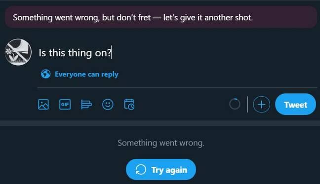 Screenshot of a failed tweet