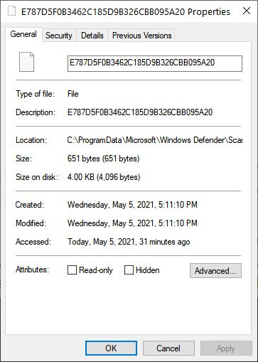 File properties of one of these files