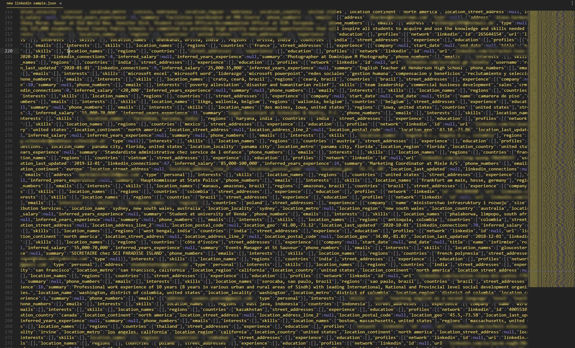 linkedin raw data