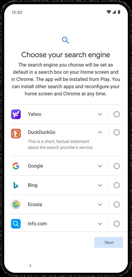 Google's new Android Choice screen